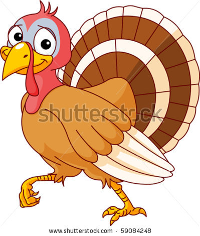 Picture Of A Cartoon Turkey Walking In A Vector Clip Art Illustration