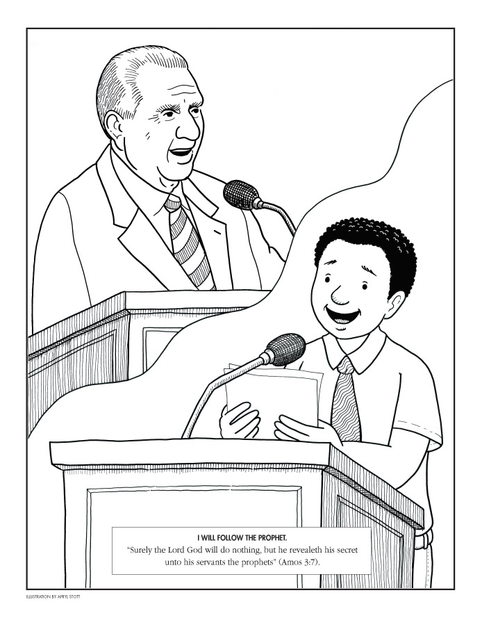 President Monson At Pulpit And Boy At Pulpit
