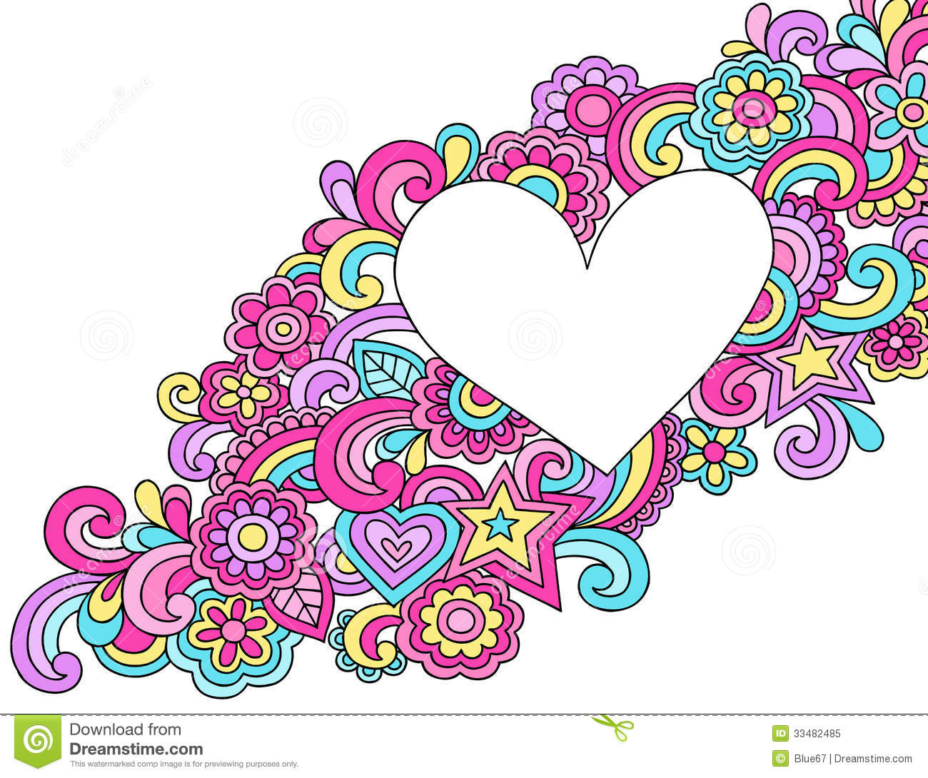 Psychedelic Heart Frame Doodle Vector Royalty Free Stock Photo   Image