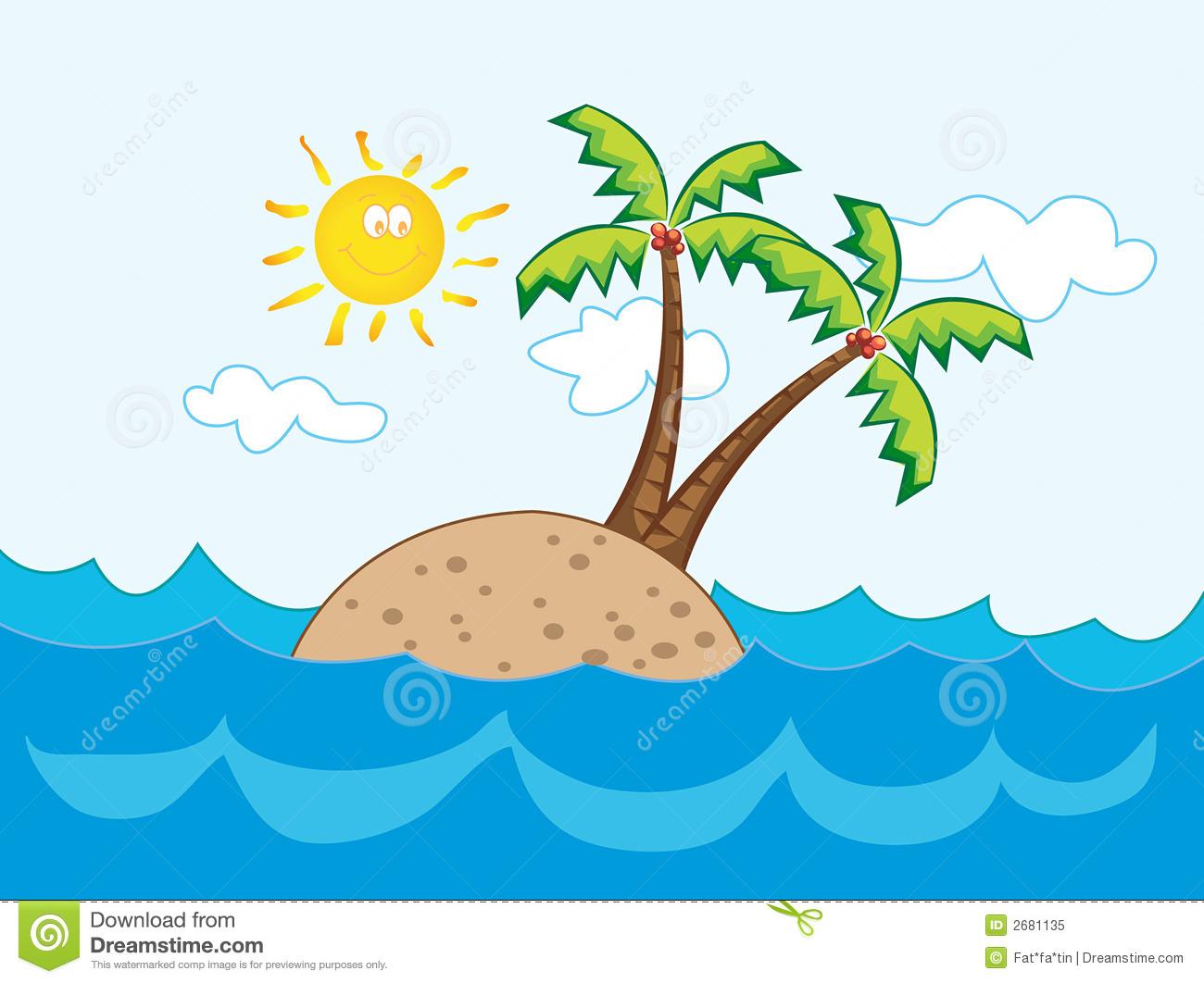 Tropical Island Cartoon: Island Free Clipart