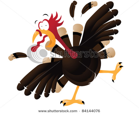 Vector Clip Art Illustration Of A Turkey Running Scared For Its Life