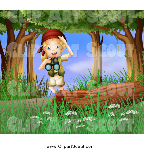 Clipart Of A Blond Excited Scout Explorer Girl With Binoculars In The