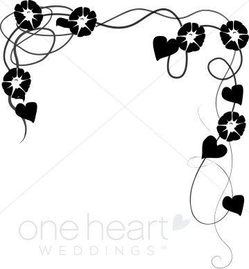 Draped Morning Glories Clipart   Wedding Flower Borders