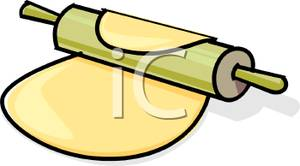 Rolling Pin Rolling Out A Piece Of Dough Flat   Royalty Free Clipart