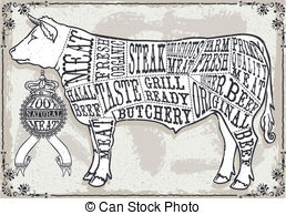 Vintage Pastel Page Of Cut Of Beef   Detailed Illustration
