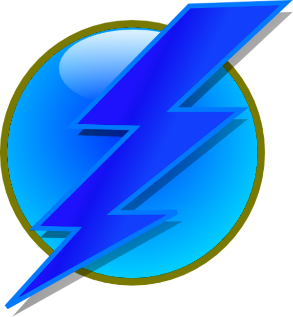 Electricity Bolt Thunder On A Circle   Vector Clip Art