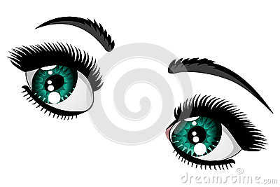 Eyebrow Clipart Emerald Eyes Female Color Long Eyelashes Black