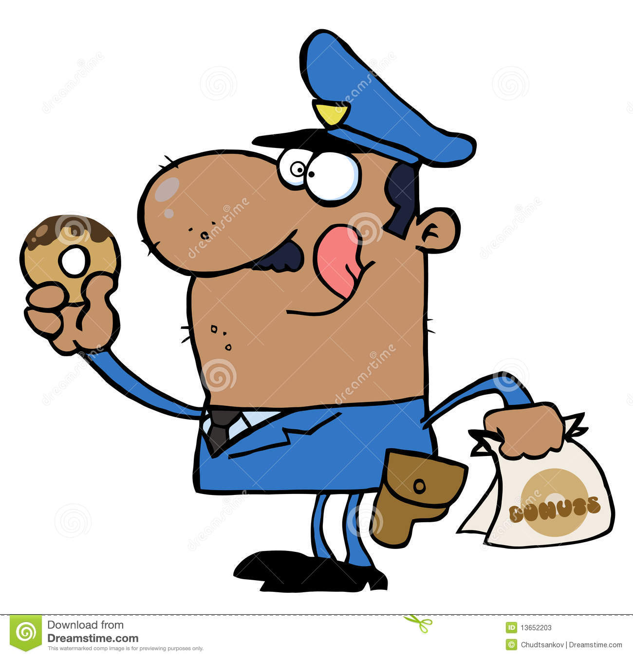 Happy African American Police Officer Eating Donut Stock