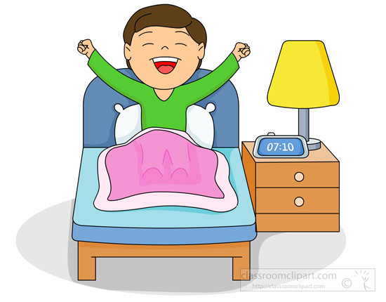 Home   Boy In Bed Waking Up In The Morning   Classroom Clipart
