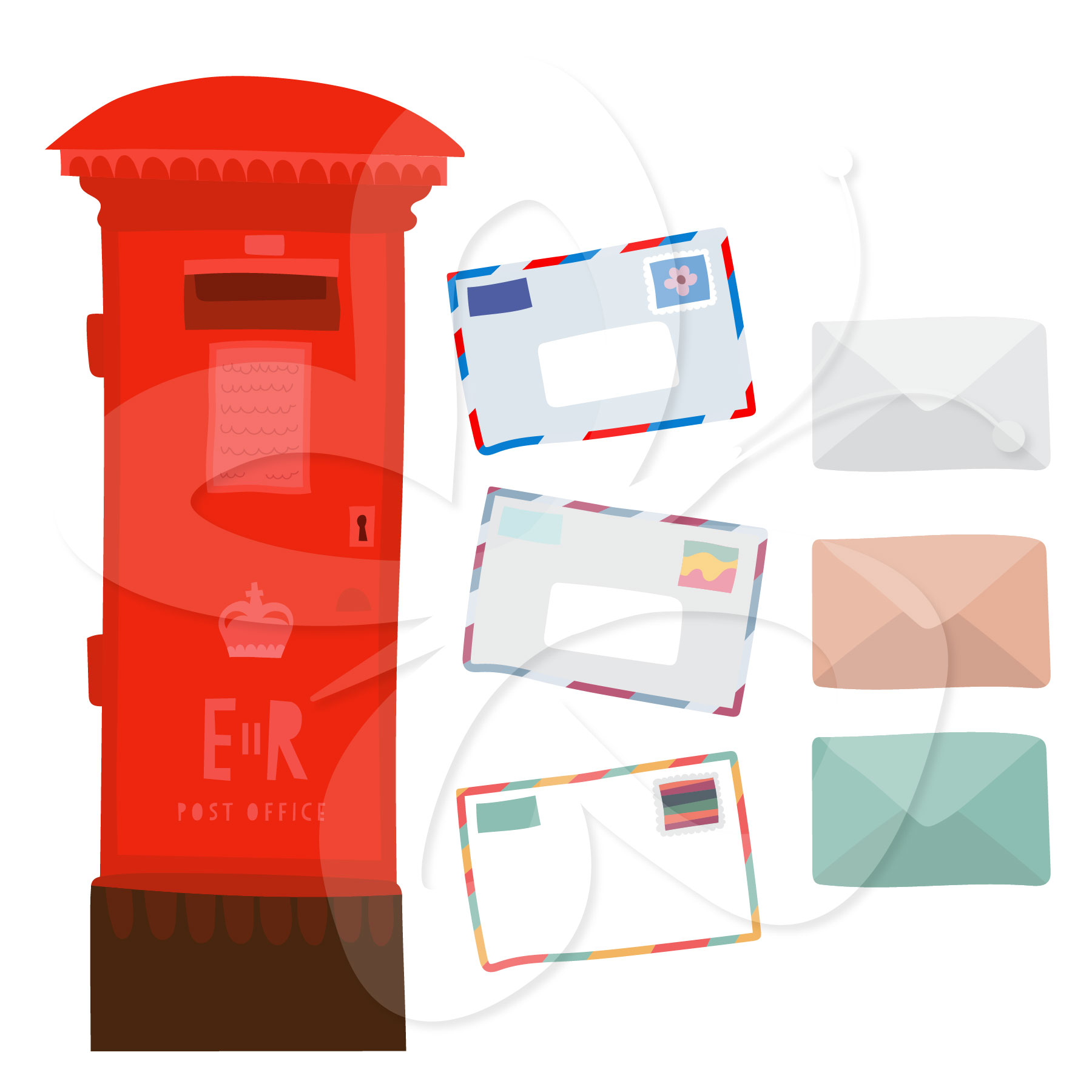 Red Mailbox Clipart Set   Creative Clipart Collection