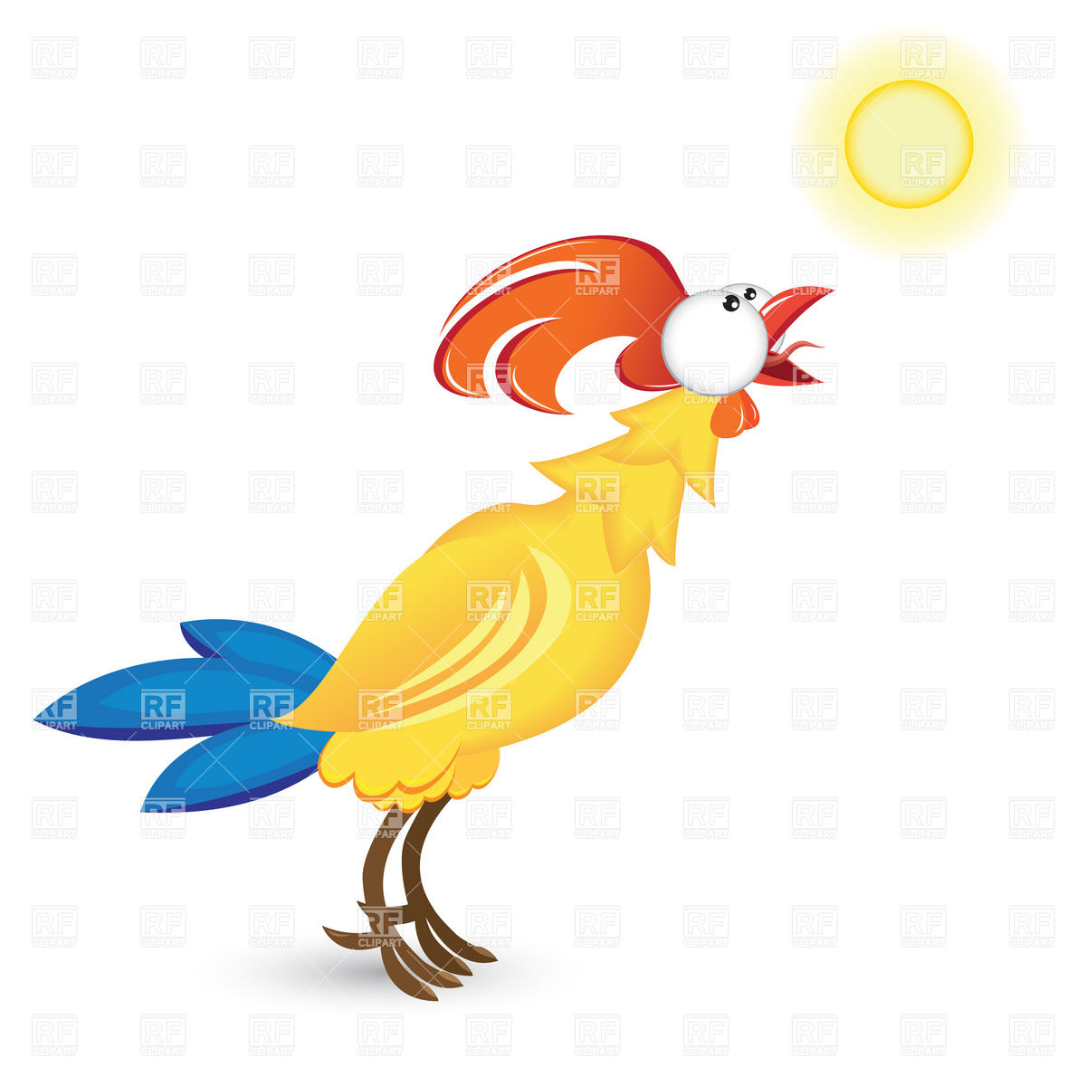 Rooster And Morning Sun Download Royalty Free Vector Clipart  Eps