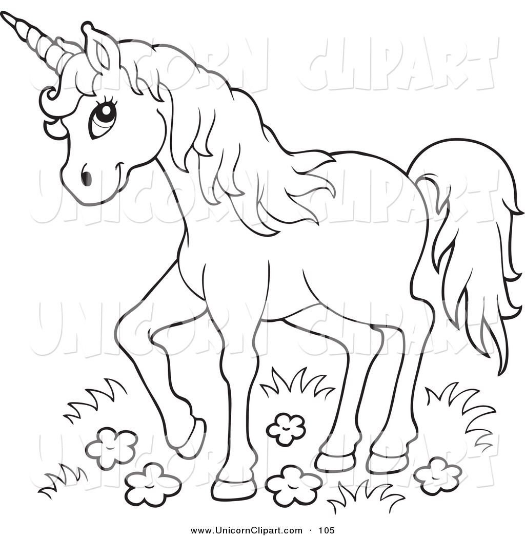 Royalty Free Stock Unicorn Clipart Of Printable Coloring Pages