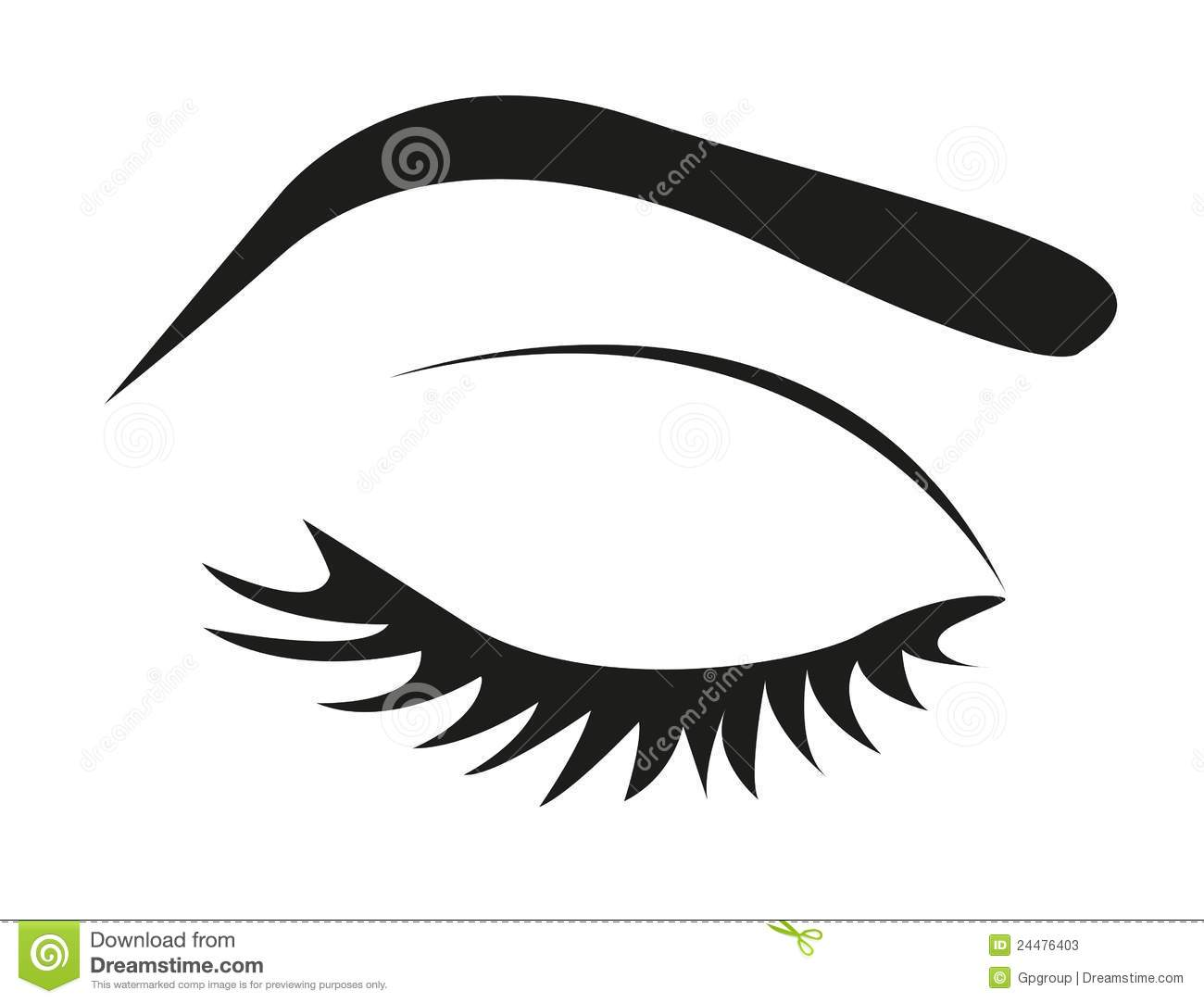 Silhouette Of Eye Lashes And Eyebrow Closed Vector Illustration