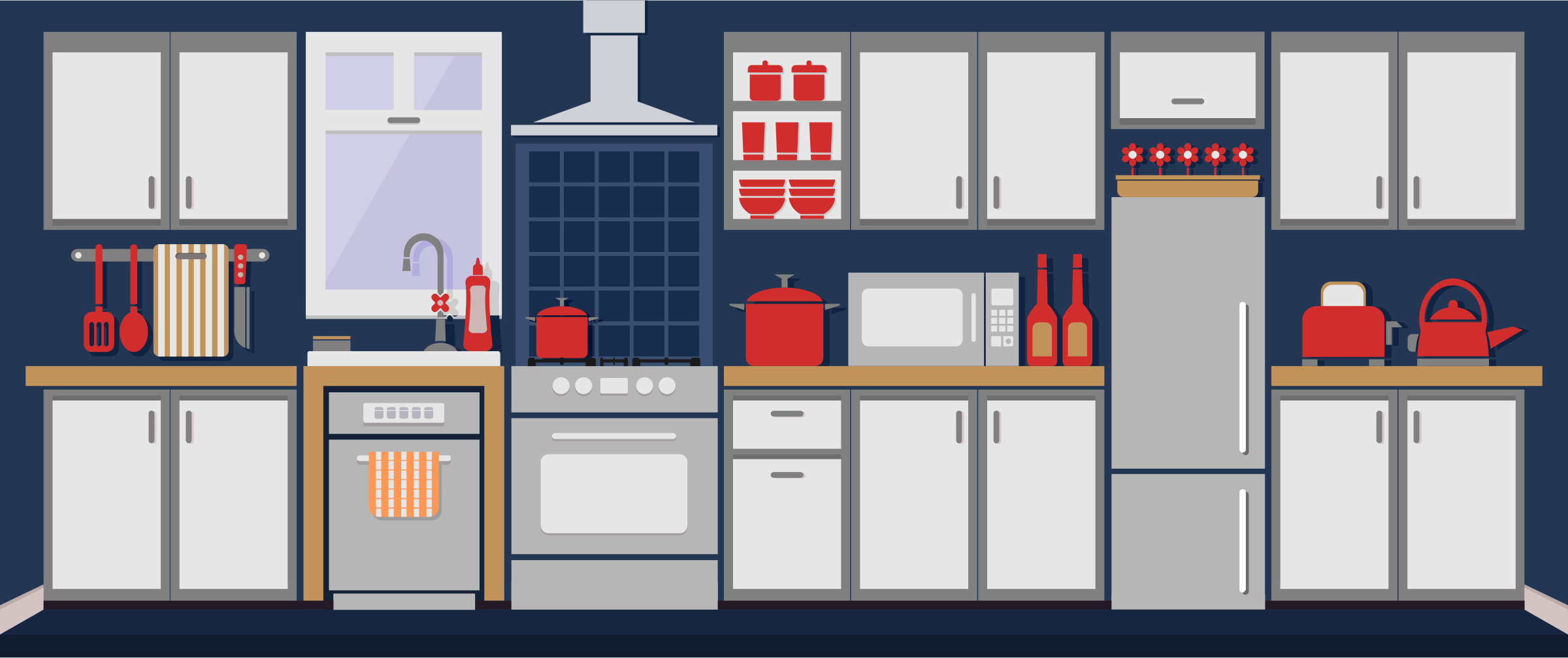 Simple Kitchen Remixed With Flat Colors And Shadows