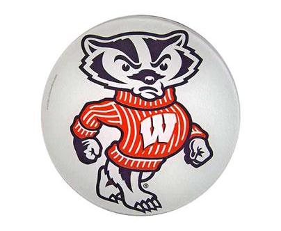 Bucky Badger Glass Cutting Board   Round