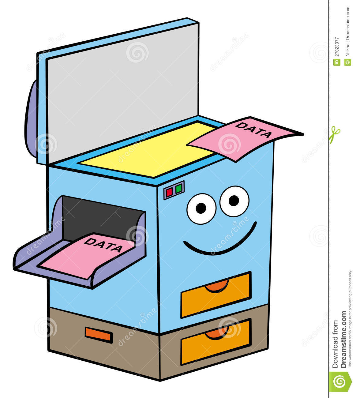 Cartoon Illustration Of A Xerox Machine With A Smiling Face Who Had