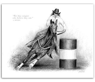 Barrel Racing Drawing