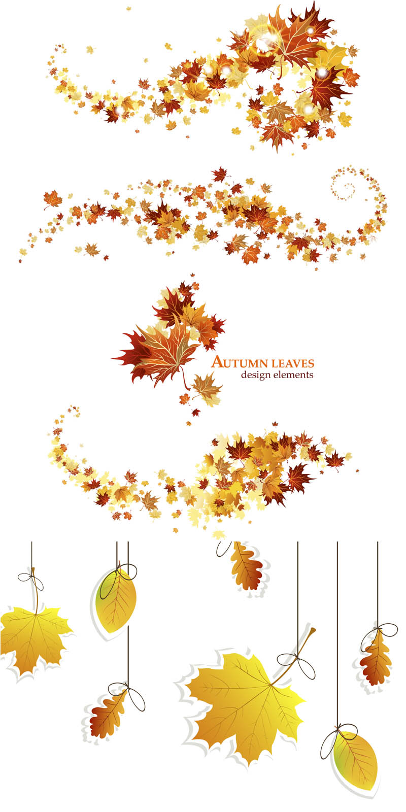 Sets Of 10 Vector Fall Leaves Designs   Garland Of Fall Leaves