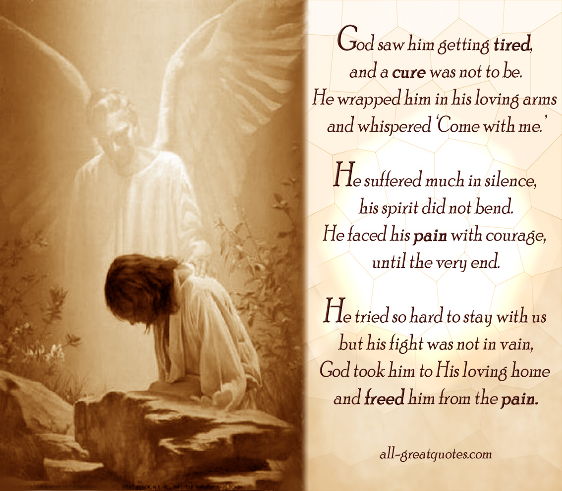 Sympathy Funeral Card Poems   God Saw Him Getting Tired And A Cure