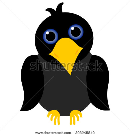 Black Crow Cartoon With Blue Eyes And Yellow Beak   Stock Photo