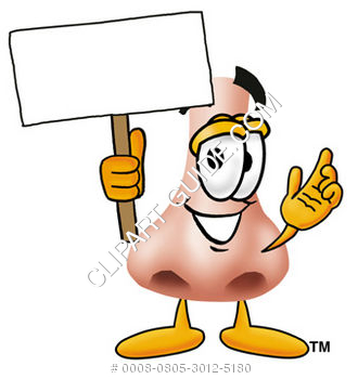 Cartoon Clipart Nose Holding Sign