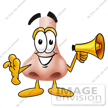Clip Art Graphic Of A Human Nose Cartoon Character Holding A Megaphone