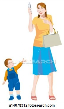 Clip Art   Mother Who Looks At A Mobile Phone And Son  Fotosearch