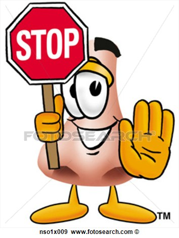 Clip Art   Nose Holding Stop Sign  Fotosearch   Search Clipart