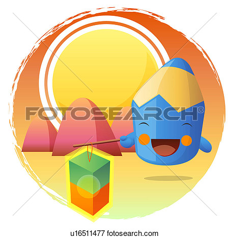 Clip Art Of Moon Stationery Smiling Colored Pencil Pencil Holding