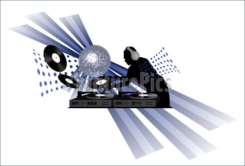 Clip Art With Dj Records Turntable And Shining Disco Ball