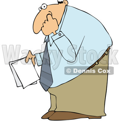 Clipart Businessman Holding Documents And Picking His Nose   Royalty