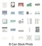 Computer Components And Peripherals Flat Icons Set Eps Vectors