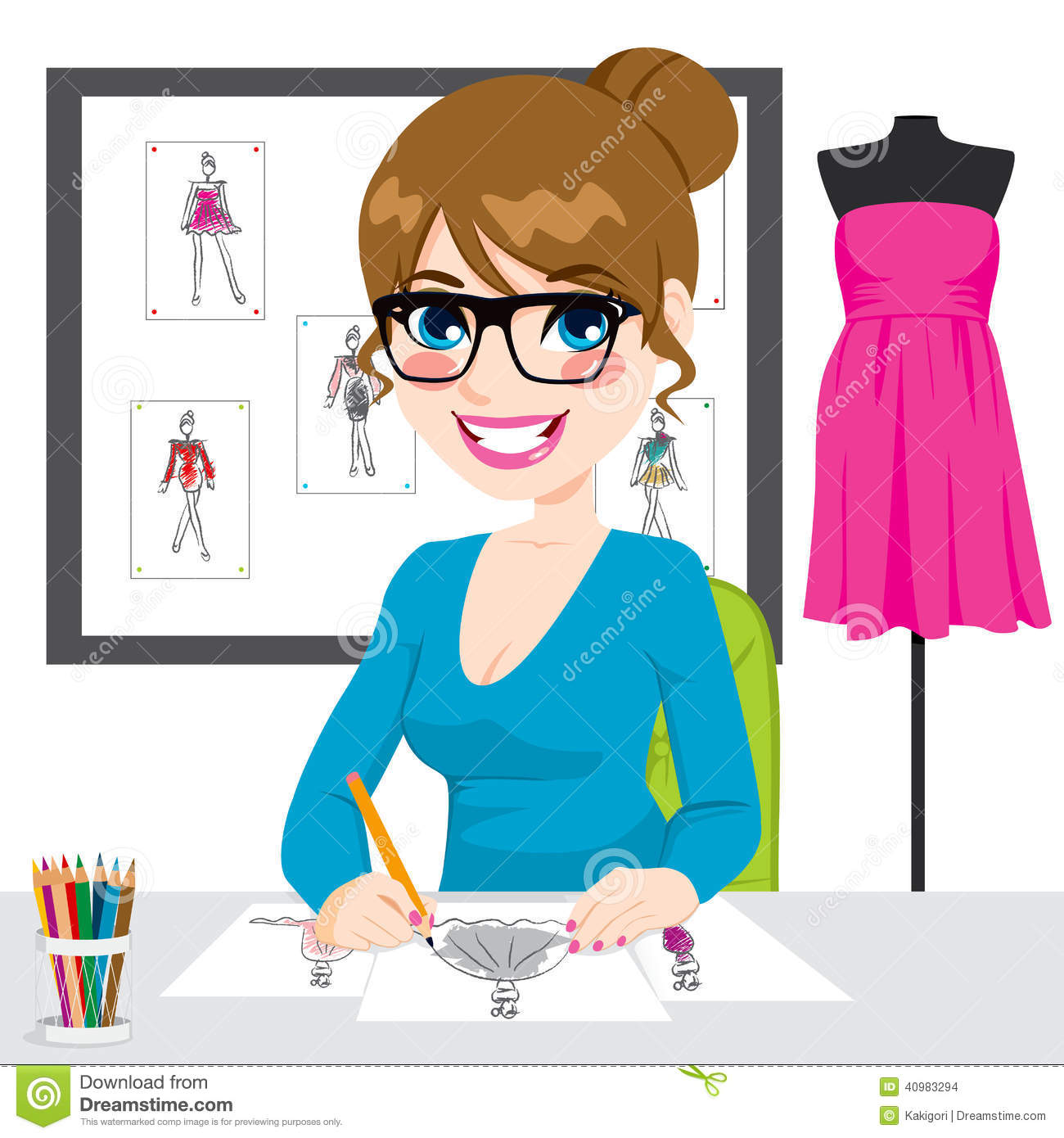 Fashion Designer Drawing Sketches Stock Vector   Image  40983294