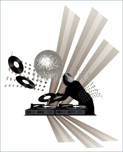 Illustration Of Clip Art With Dj Records Turntable And Shining Disco