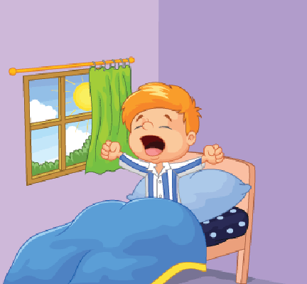 Illustration Of Little Boy Cartoon Woke Up Yawns  From The Getty
