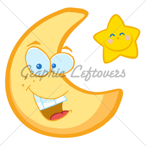 Rf Clipart Illustration Smiling Moon And Star Cartoon Characters Jpg