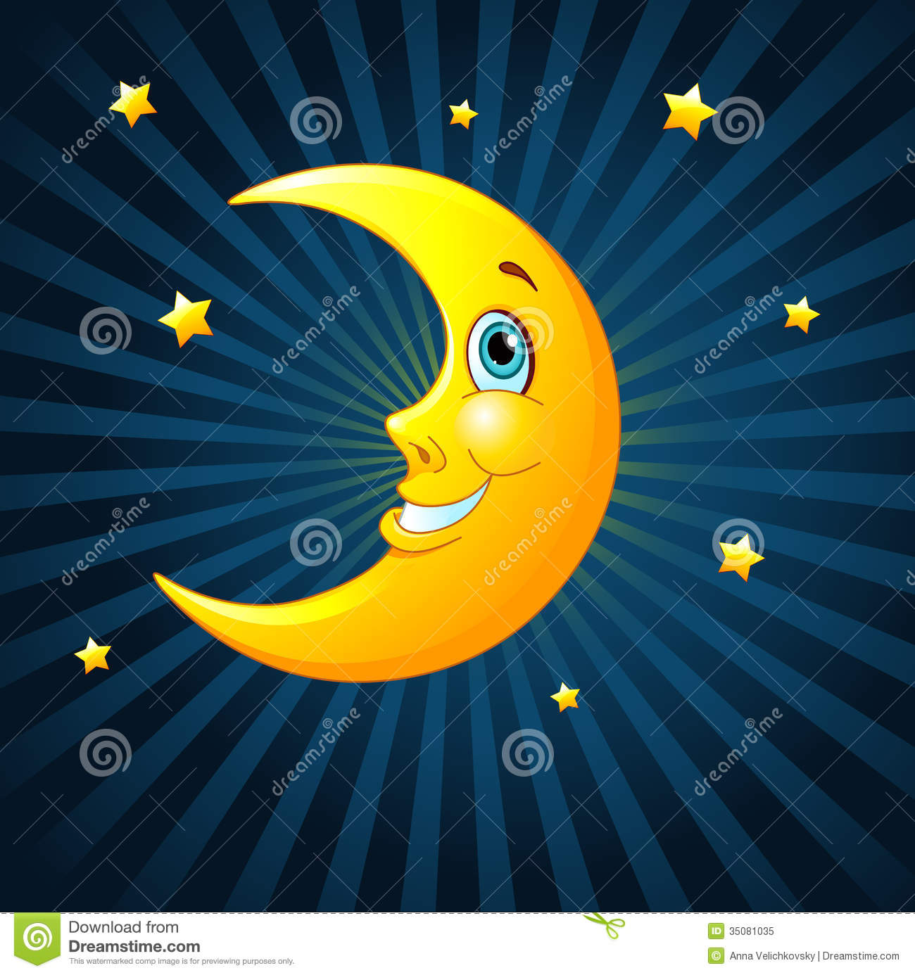 Smiling Moon Royalty Free Stock Photo   Image  35081035