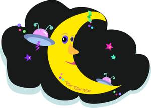 Smiling Moon With Spaceships   Royalty Free Clipart Picture