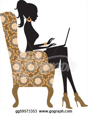 Young Fashionable Woman Working On Laptop Vector Clipart Gg59573353