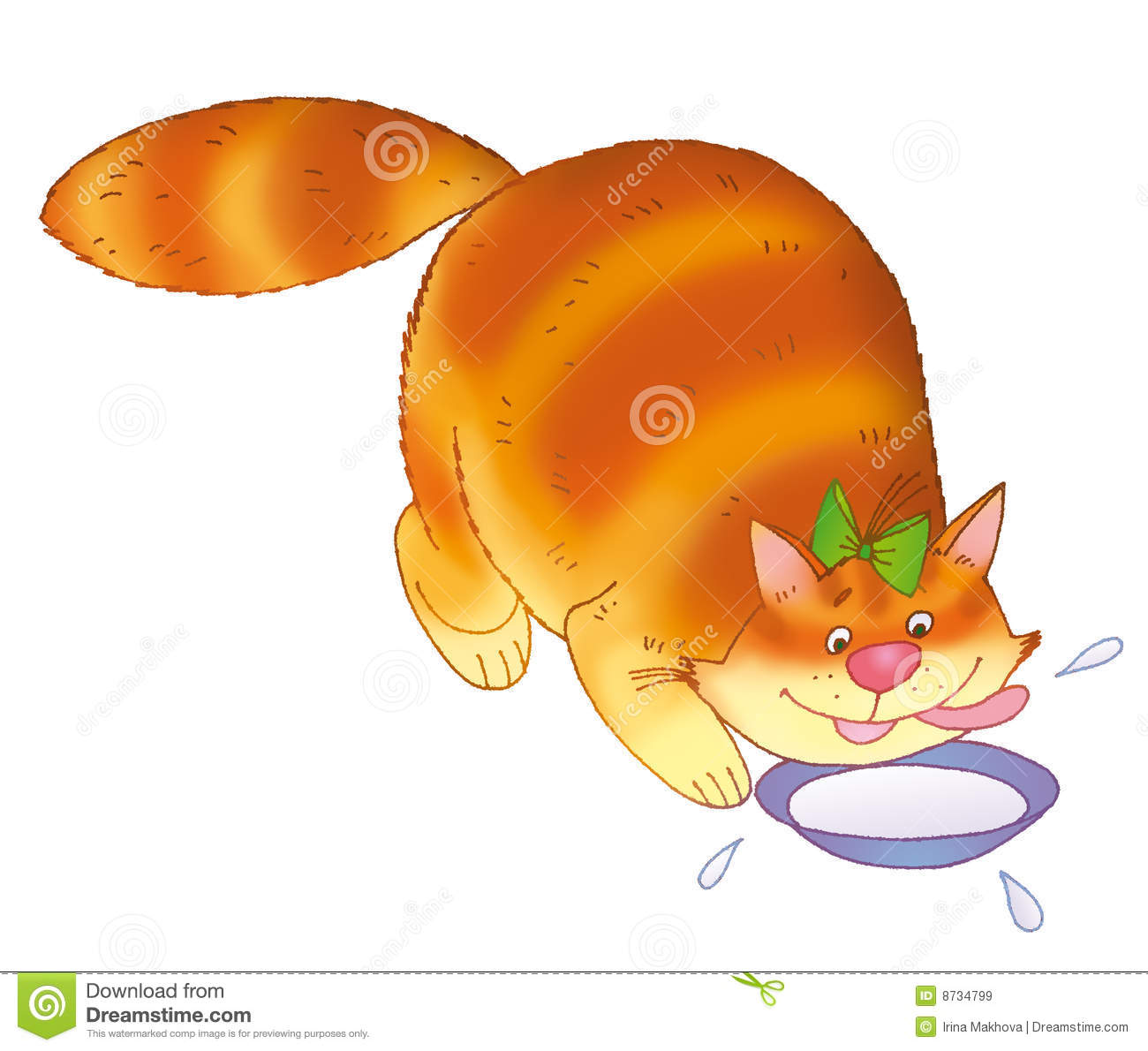 Cat And Bowl Of Milk Royalty Free Stock Images   Image  8734799