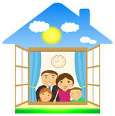 Cheerful Family In Private House   Clipart Graphic