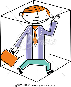 Clip Art   Businessman Trapped Inside Box  Stock Illustration