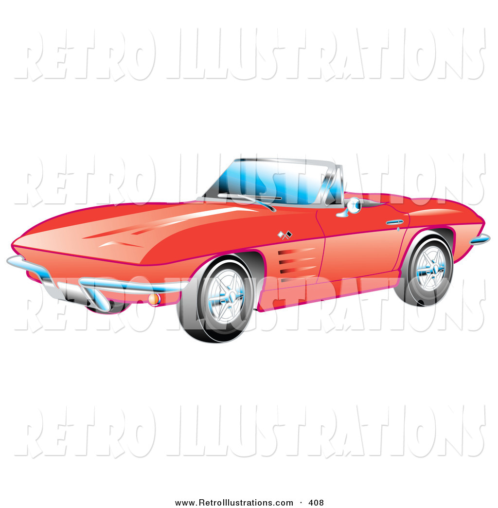 Clip Art Of A Convertible Red 1963 Convertible Chevrolet Corvette