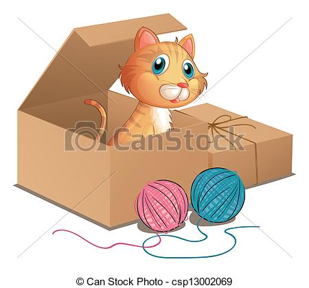 Clip Art Vector Of A Cat Inside The Box   Illustration Of A Cat Inside