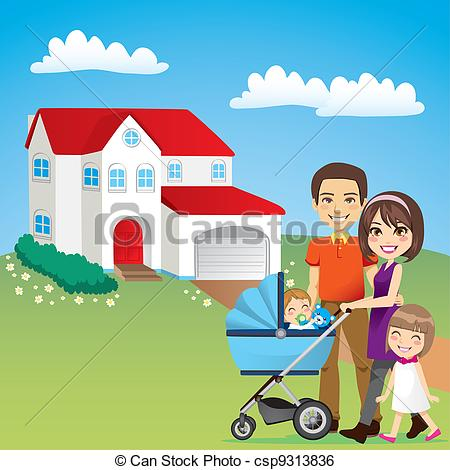 Clip Art Vector Of Beautiful Family House   Young Family Happy Outside