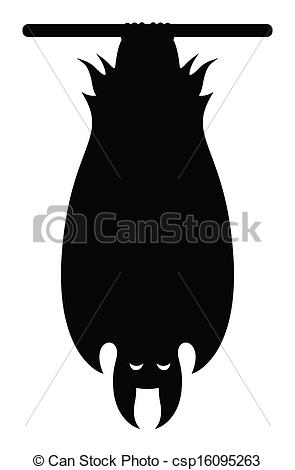 Clip Art Vector Of Vampire Bat Hanging Silhouette   Drawing Art Of Bat