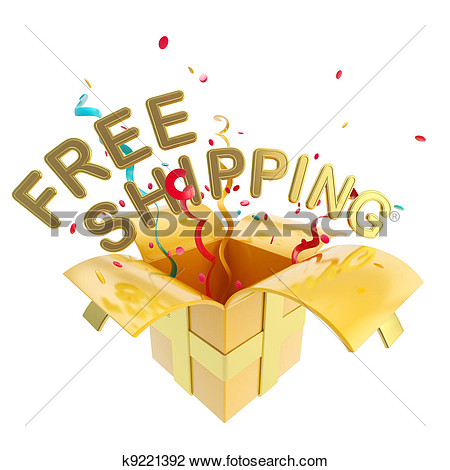 Clip Art   Word Free Shipping Inside A Gift Box  Fotosearch   Search