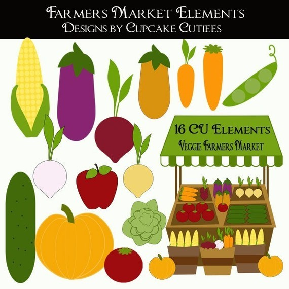 Farmers Market Veggies Whimsical Digital Clip Art Collection Instant