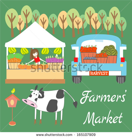 Farmers  Market With Fruits And Vegetables Stands And Cow   Stock