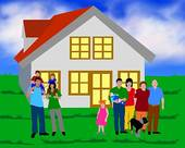 Illustration Of A Family With A House   Royalty Free Clip Art